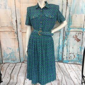 VINTAGE LESLIE FAY Pleated Blue Green Print Dress